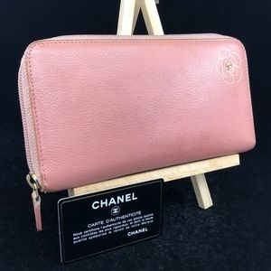 CC044 Leather Zip around Camellia long Wallet